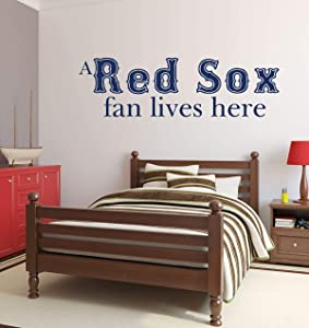 Red Sox Fan Lives Here Wall Decal Quote   Boston MLB Team or Youth Baseball Themed Vinyl Decor for Living Room, Bedroom, Work Office   Small, Large Sizes   Black, White, Other Colors