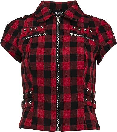 Camisa de Cuadros Negros y Rojos de Manga Corta con Cremallera y Tachuelas con Cordones para Mujer