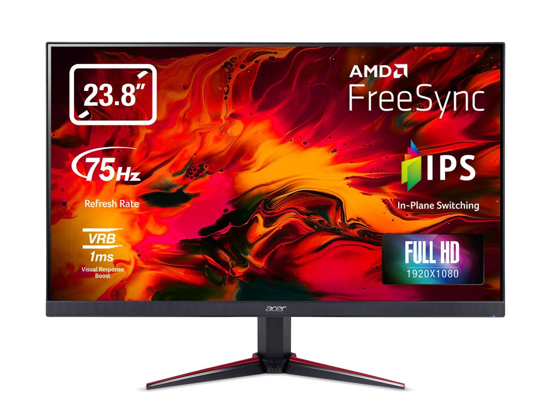 Acer Nitro VG240Ybmiix 23.8 Inch FHD Gaming Monitor, Black (IPS Panel, FreeSync, 1ms, ZeroFrame, HDMI, VGA) Black/Red