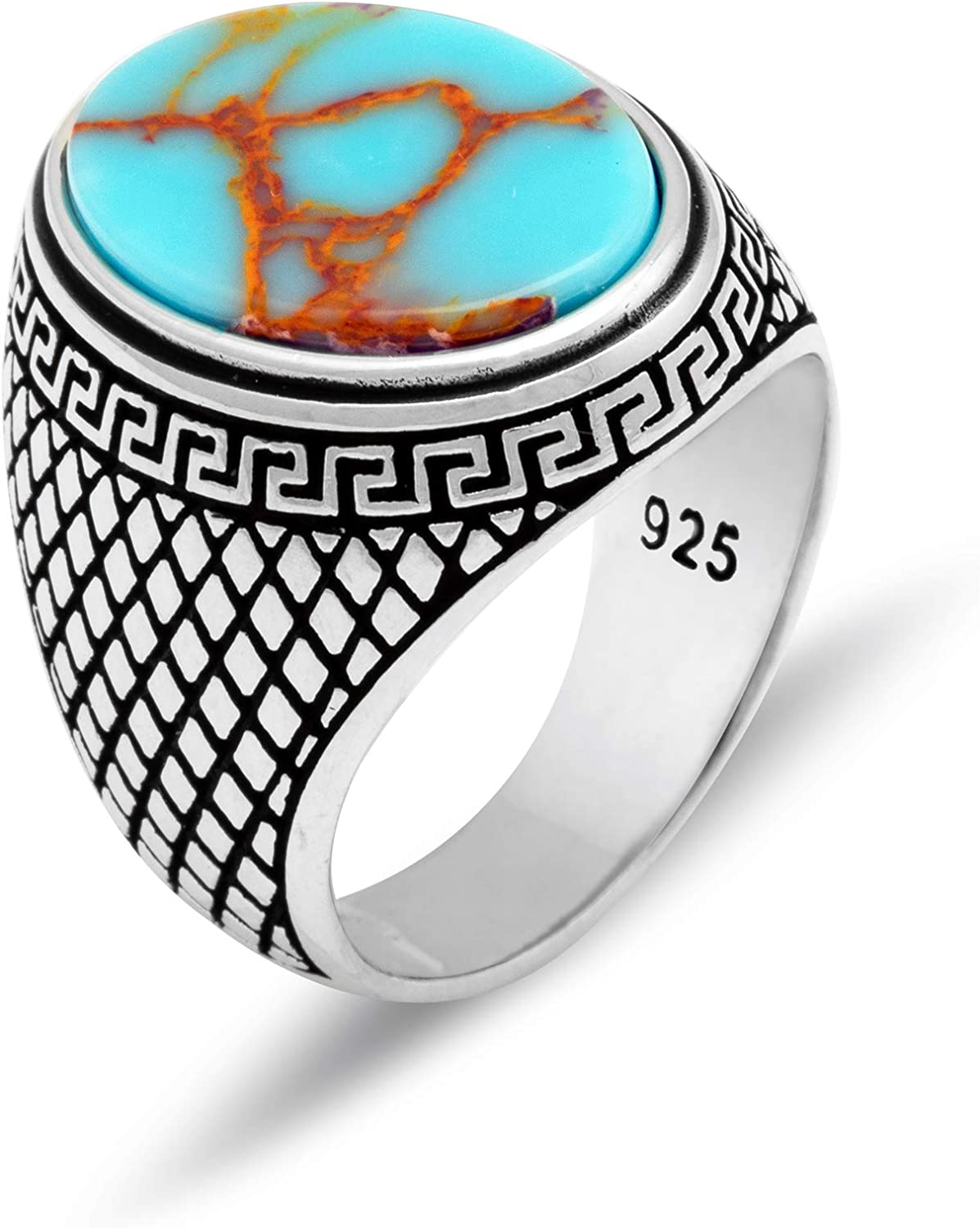 Chicotta Men's Greek Meander Design Sterling Silver Ring with Oval Antique Turquoise Stone
