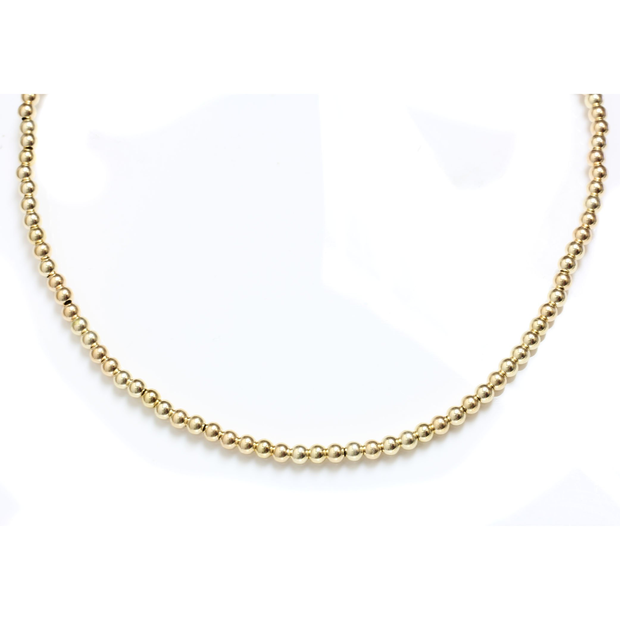 Seven Seas Pearls Gold Filled Beaded Ball Necklace with Lobster Clasp 5 mm Beads 14'' to 24'' (Yellow-Gold-Filled, 16)