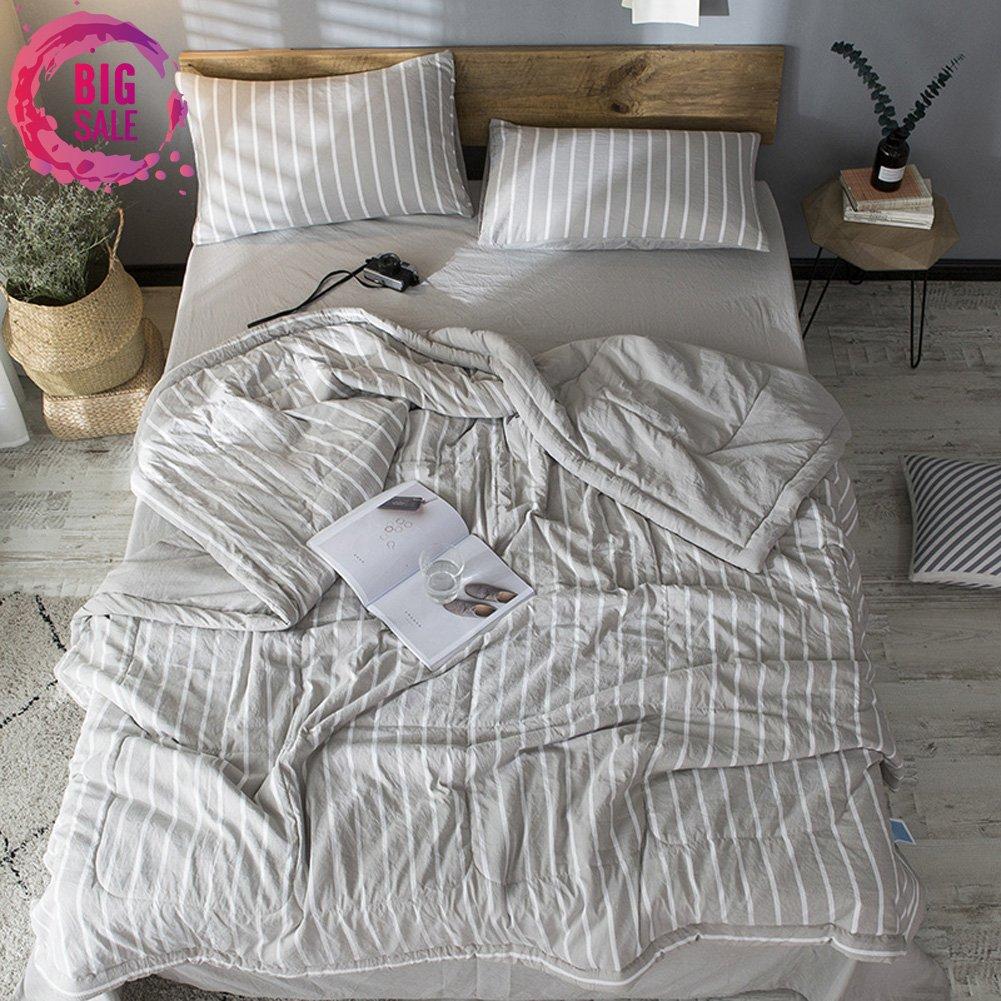 Leadtimes Thin Comforter Cotton Kids Quilt Queen Grey Stripe Print Reversible Lightweight Kids Comforter (Grey Stripe, Queen) by Leadtimes