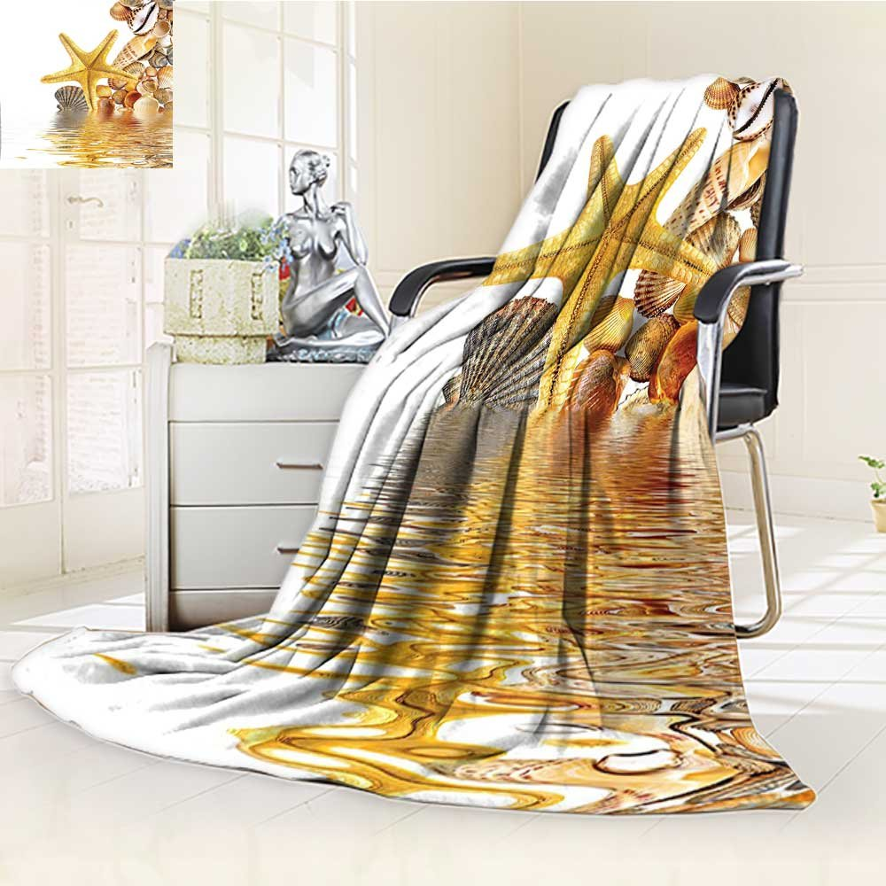 YOYI-HOME Lightweight Duplex Printed Blanket Starfish Reflection On Water Golden Color Wellness Spa Natural Clear Theme Digital Printing Blanket /W86.5 x H59