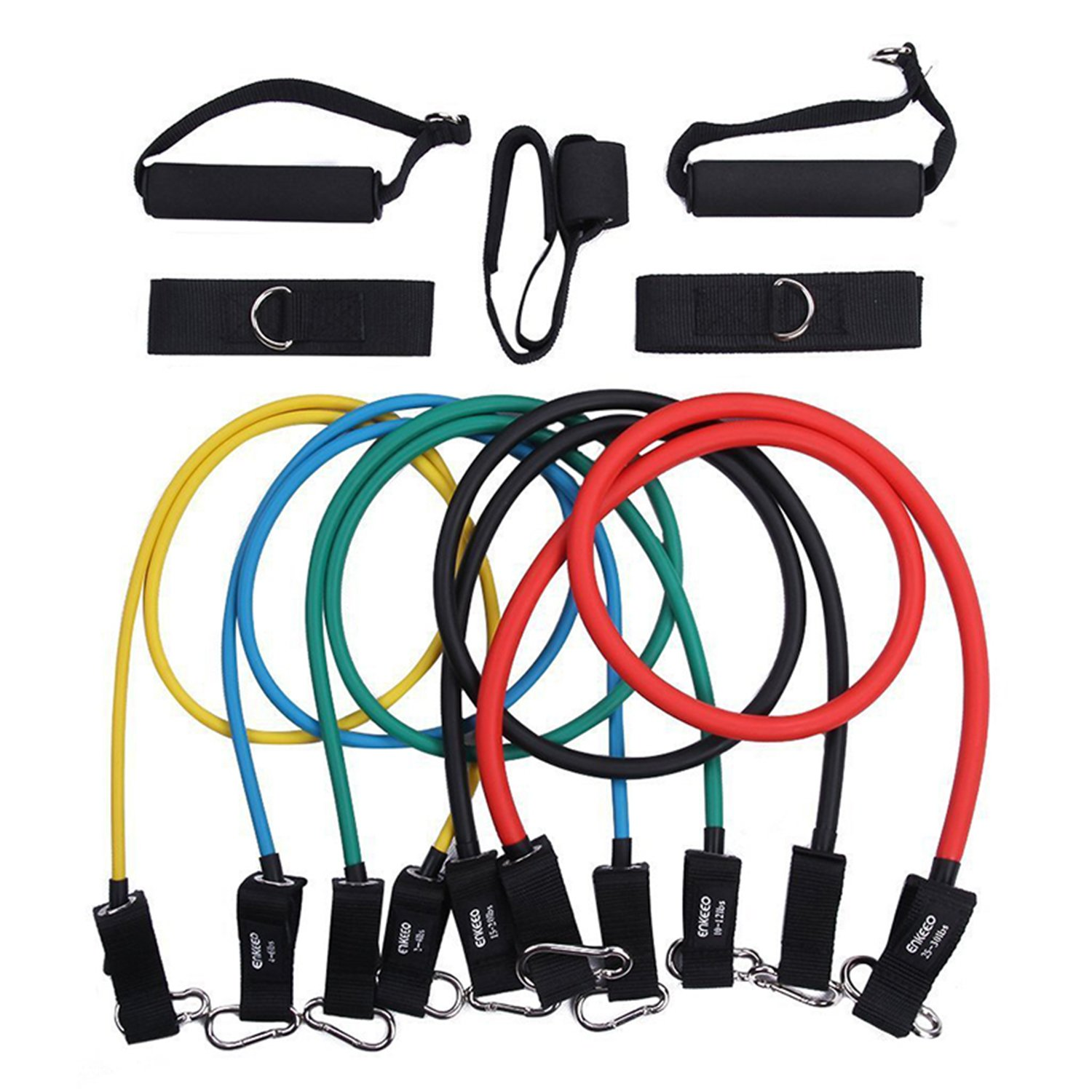 Kuspert 11pc Resistance Band Set with Door Anchor, Handles, Ankle Straps and Exercise Chart, Stackable Up To 80lbs