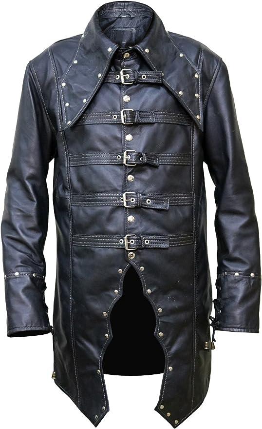 Men Steampunk Vampire Gothic Lapel Collar Goth Jackets Coat PU Leather Long Coat