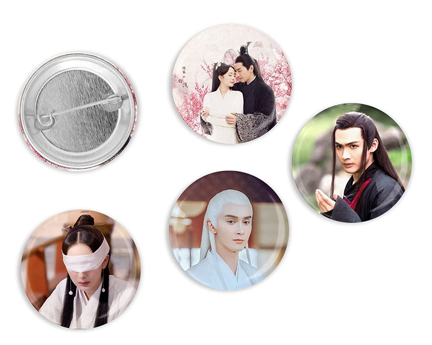 Three Lives Three Worlds Set of 4 Brooch Pins Ten Miles of Peach Blossoms Gift Ideas for C-drama Fans Pinback Buttons 1.25 inch Round
