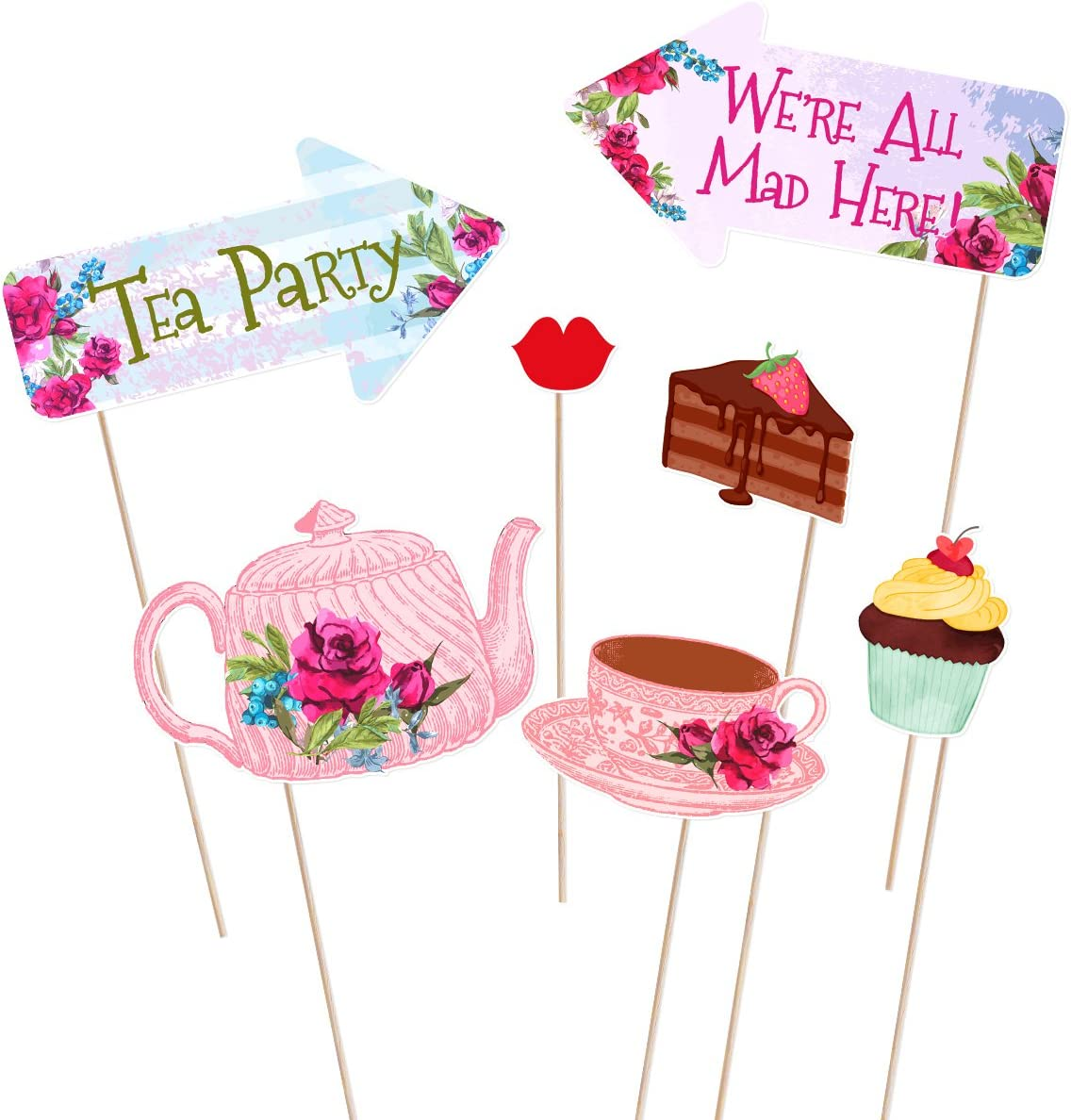 LUOEM Tea Party Photo Booth Props Tea Party Stick Props Funny Tea Party Supplies WeddingBacheloretteEngagementBirthdayBridal ShowerChristmas Party Decorations 30 Pack