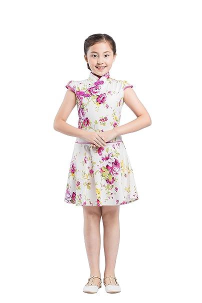 Hstyle Manga Corta Cheongsam Niños Vestido Niñas Rosas Rosas Verano Floral Chino Tradicional Qipao Vestido