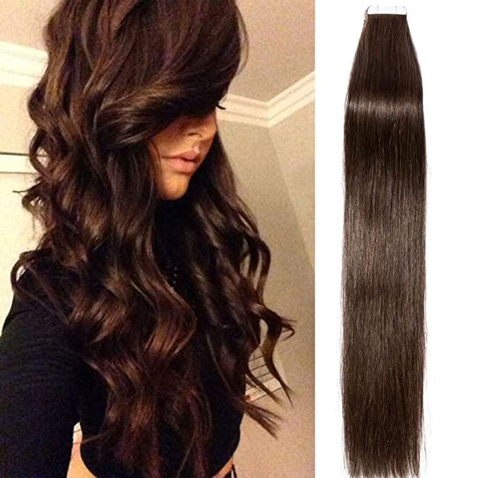 "18""-22"" Skin Weft Tape in Real Remy Human Hair Extensions Straight 40pcs 60g (22"", #2 Dark Brown)"