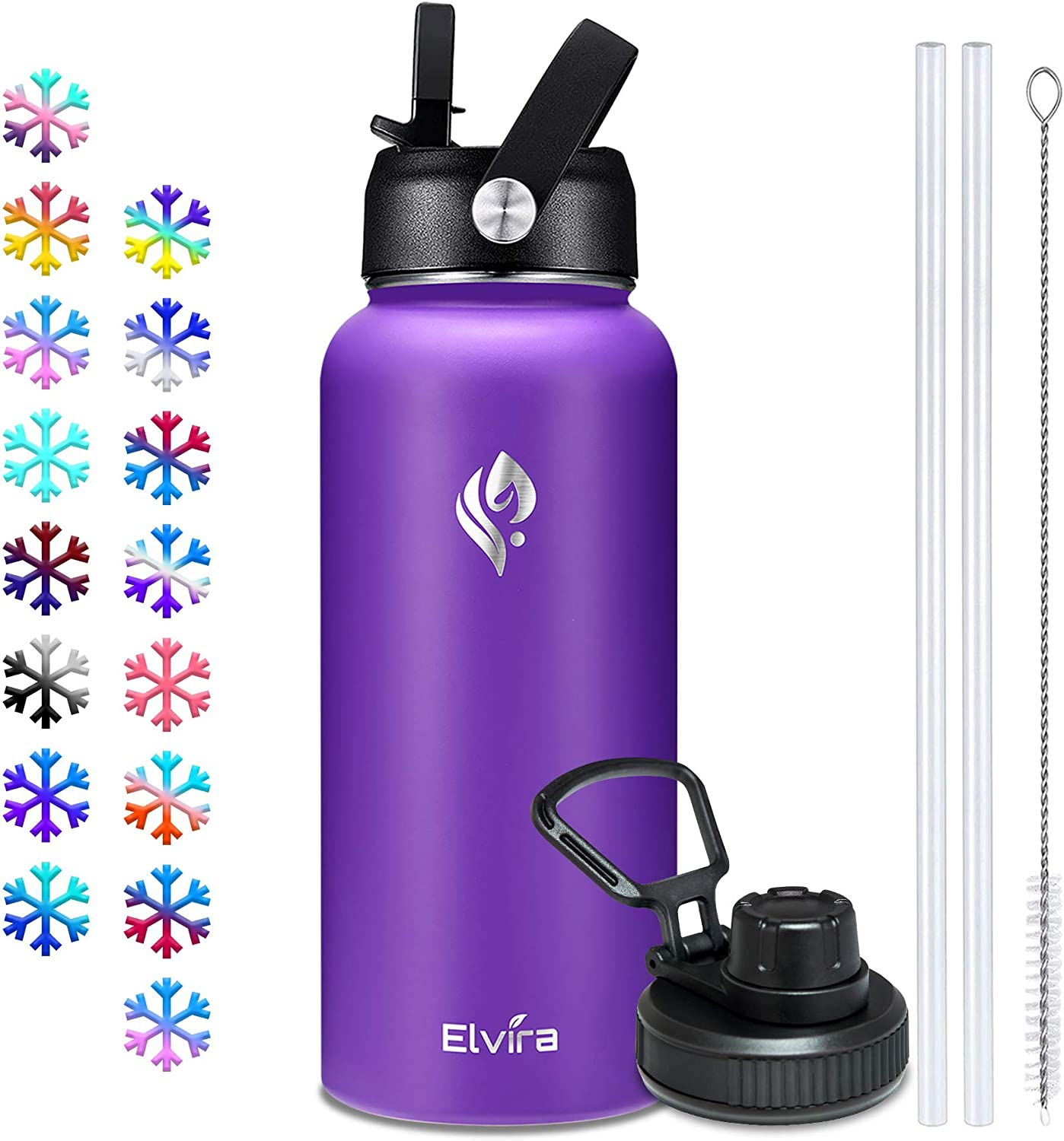 Elvira 32oz Vacuum Insulated Stainless Steel Water Bottle with Straw & Spout Lids, Double Wall Sweat-proof BPA Free to Keep Beverages Cold For 24 Hrs or Hot For 12 Hrs