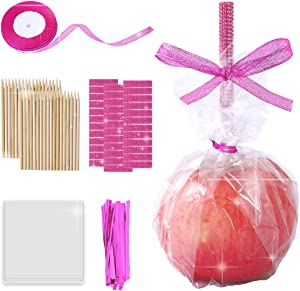 36 Pieces Bamboo Sticks 5 Inch Candy Stick, 36 Bling Rhinestone Decoration Sticker, 36 Candy Glass Paper, 1 Roll 25 Yard Glitter Ribbon, 145 Pieces Candy Making Accessory for Candy Making (Pink)