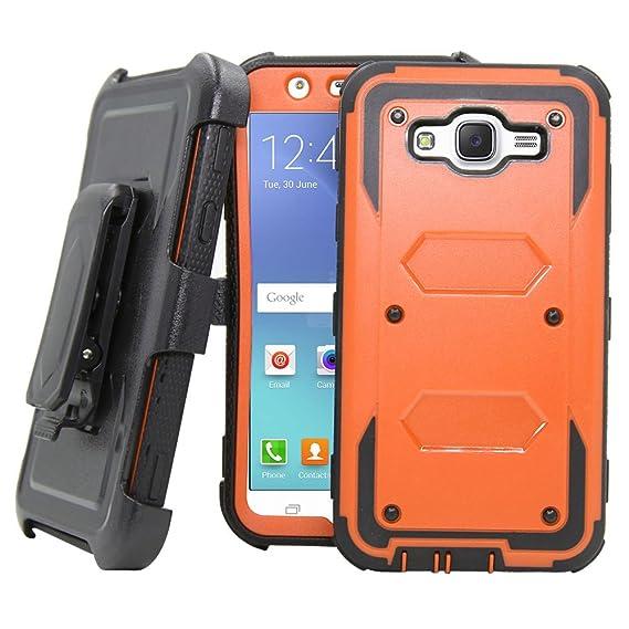 new arrival 50897 735d1 Galaxy J7 Neo J701M /J7 Nxt J701F /J7 Core J701 Case, Telegaming Hybrid  Rugged Heavy Duty Shock Absorption Case With Belt Swivel Clip Kickstand ...