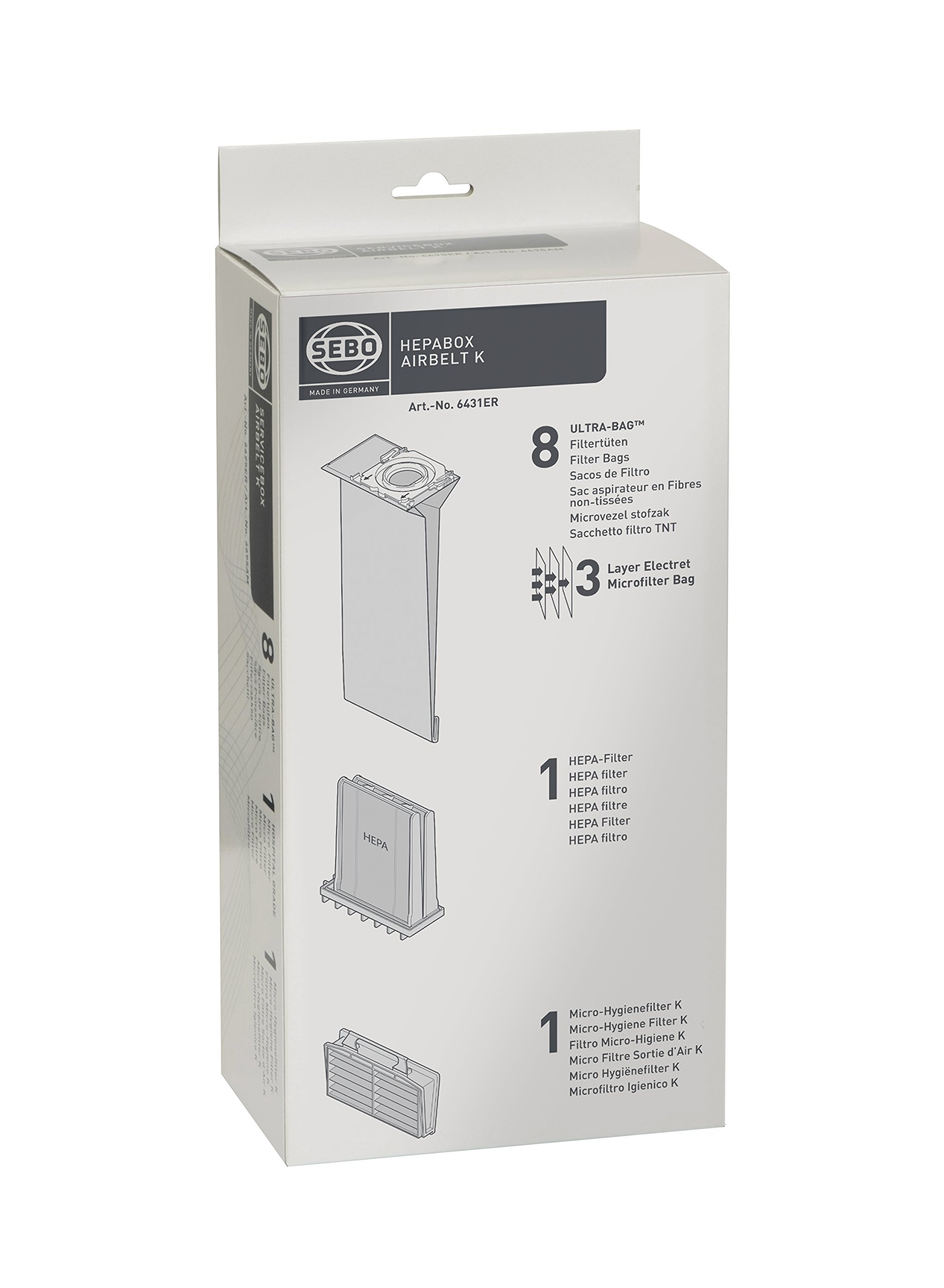 Sebo 6431ER HEPA Service Box for K Series Vacuum with 8 Ultra Bags, Exhaust Filter and HEPA Pre-Motor Microfilter