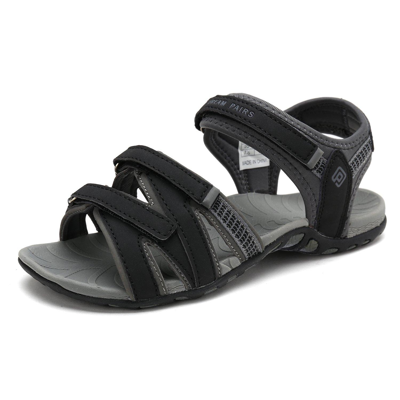 DREAM PAIRS Women's Kaiya_01 Black Grey Fashion Athletic Sandals Size 8 M US