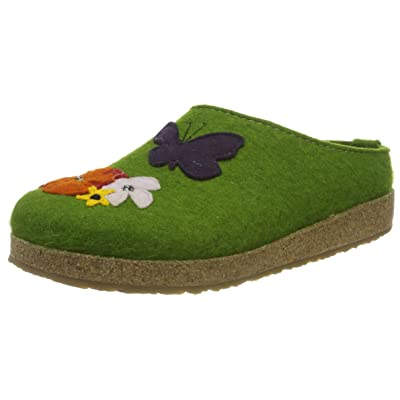 HAFLINGER Wool Felt Clogs Grizzly Garden, Grass Green: Shoes