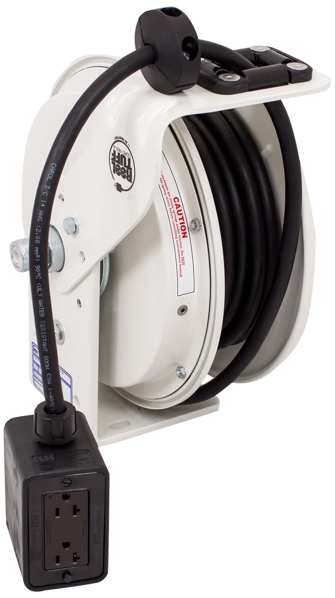 KH Industries RTB Series ReelTuff Power Cord Reel, 12/3 SJOW Black Cable and Four Receptacle Outlet Box, 20 Amp, 25' Length, White Powder Coat Finish