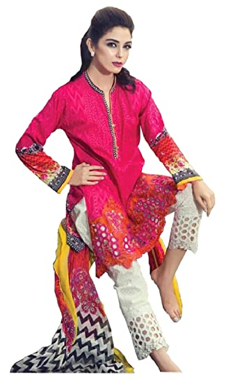 2f4497a4e7 Madeesh Pakistani Suit for Women, Paki Style Designer Suit, Glace Cotton,  Heavy Embroidery