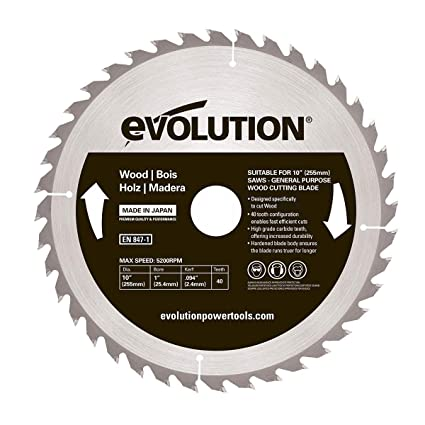 Evolution Power Tools - Construir rageblade255wood evolución 255 mm madera carburo, hoja, 0 V