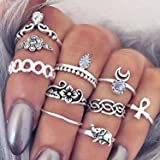 10pezzi Vintage Knuckle Ring Anello Tribal Ethnic Hippie Joint Punk Ring Anello Set Per Donna