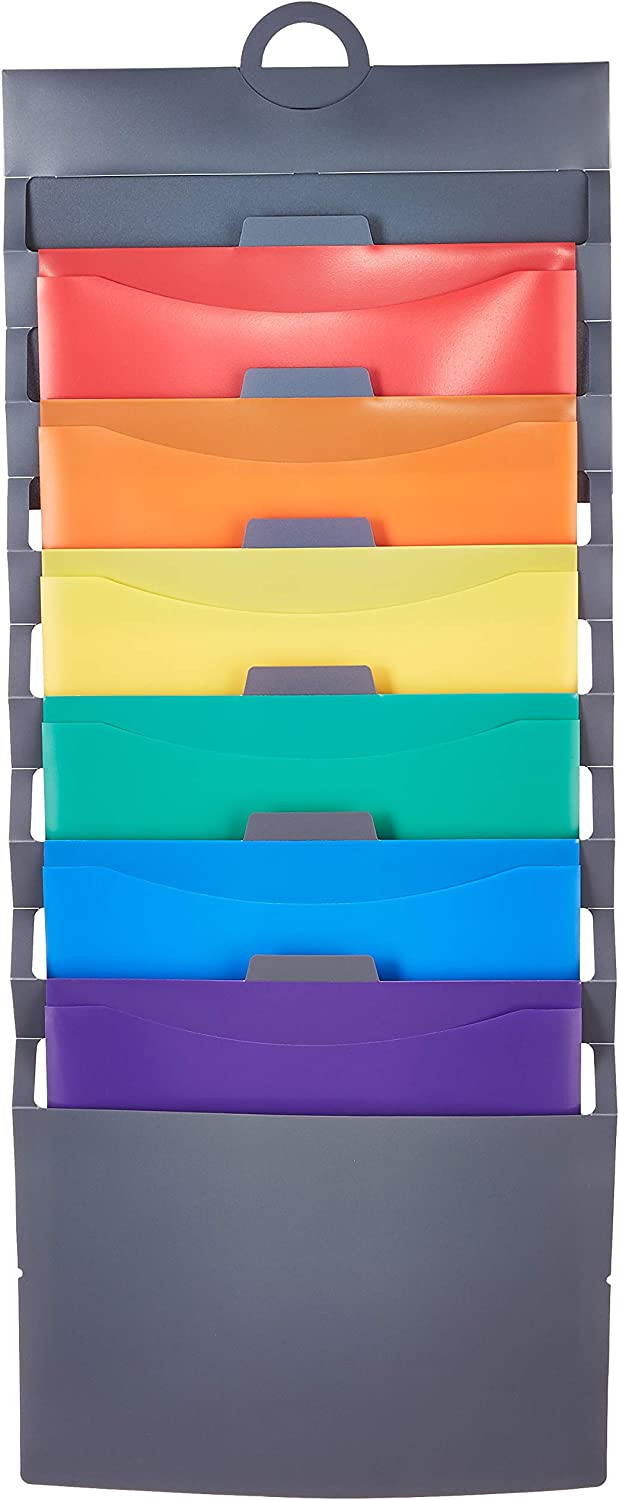 AmazonBasics Hanging 6 Pocket File Folders - Multicolor