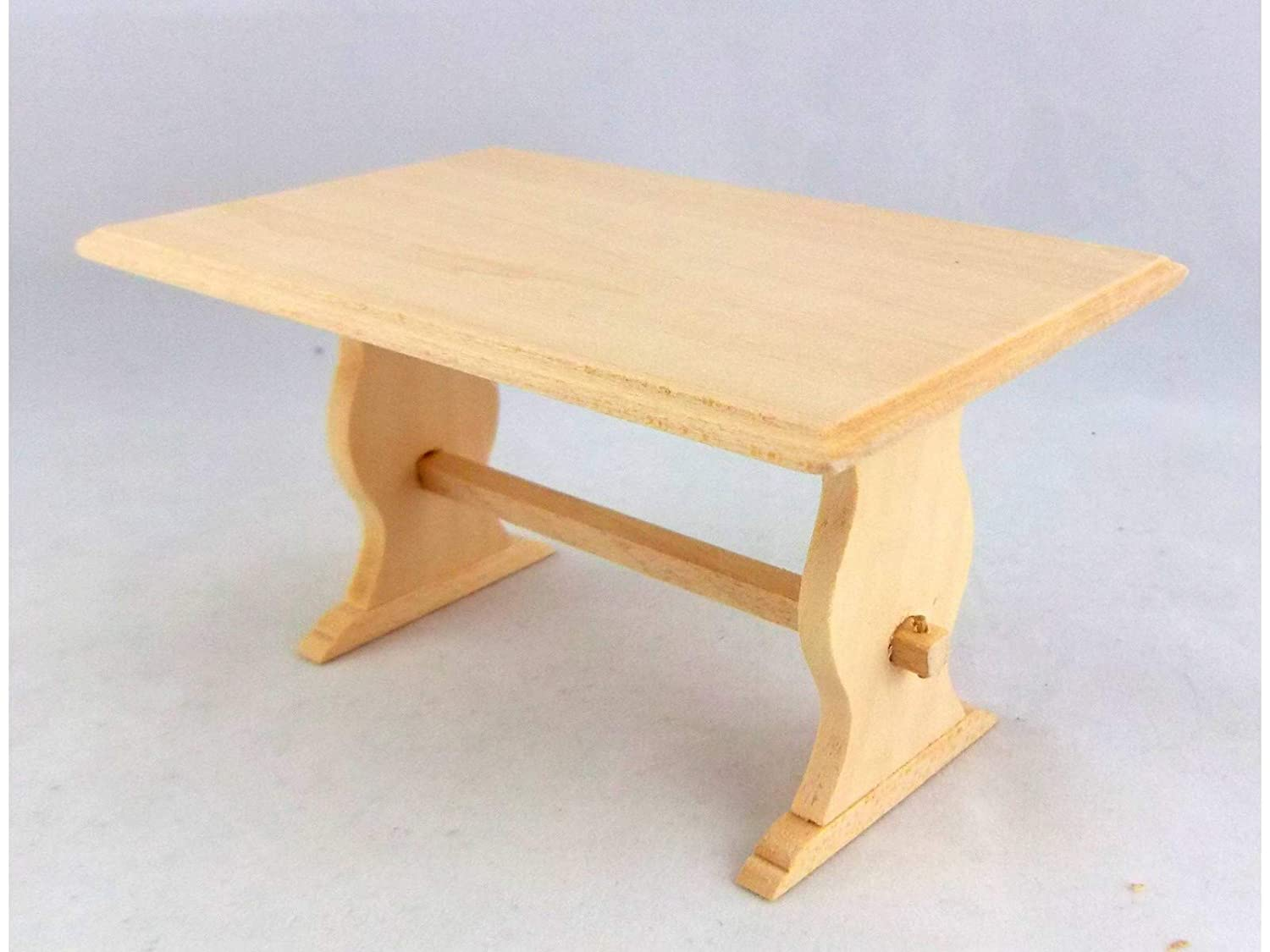 Unpainted Dollhouse Miniature Furniture Wooden Table Kitchen Room Table 1:12
