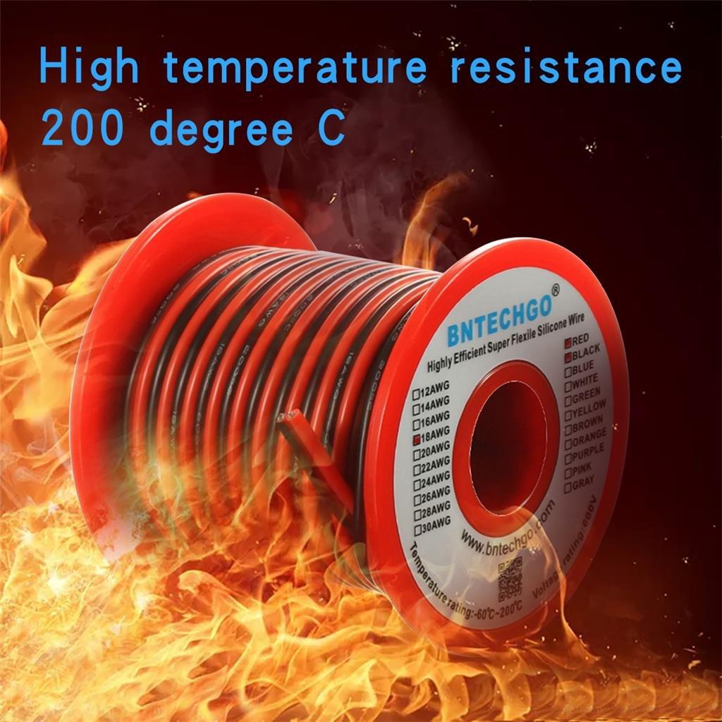 bntechgo 18 Gauge Flexible 2 Leiter Parallel Silikon Draht Spule rot ...