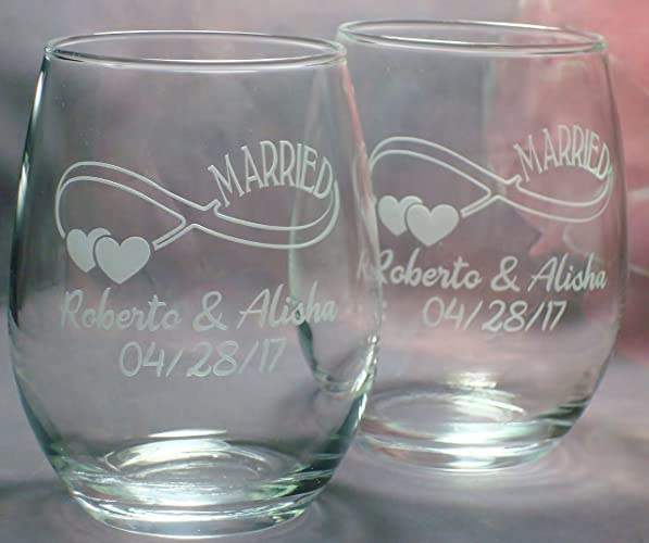 bridal shower gift wedding couple gift pair of infinity symbol married personalized 15 oz stem less