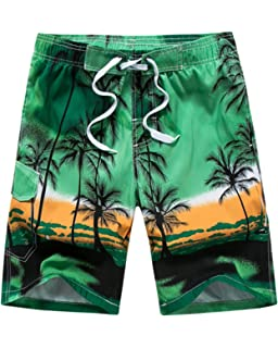 5b32388758 Men's Casual Printed Beach Board Shorts Hawaiian Quick Dry Swim Trunks with Mesh  Lining