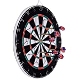 Dartboard, Loveiscool Double-sided Dart Board with 6 Brass Darts