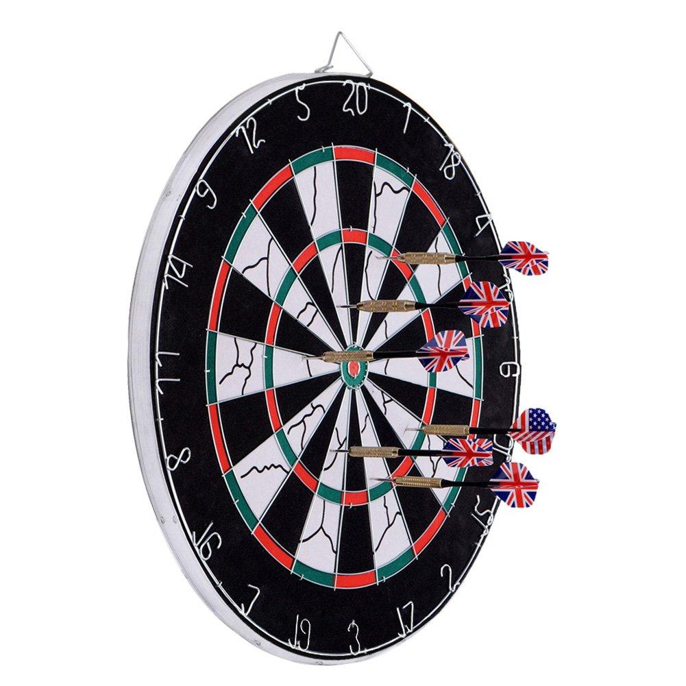 Dartboard, Loveiscool Double-sided Dart Board with 6 Brass Darts