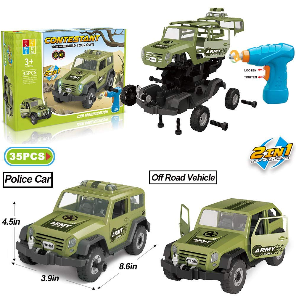 Limei STEM Jeep Car Toy Take Apart Toy Car Off Road Vehicle with Electric Drill Building Car Toy Set