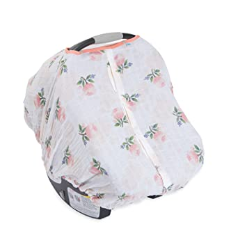 Amazon.com: Little Unicorn Cotton Muslin Car Seat Canopy - Watercolor Rose: Baby