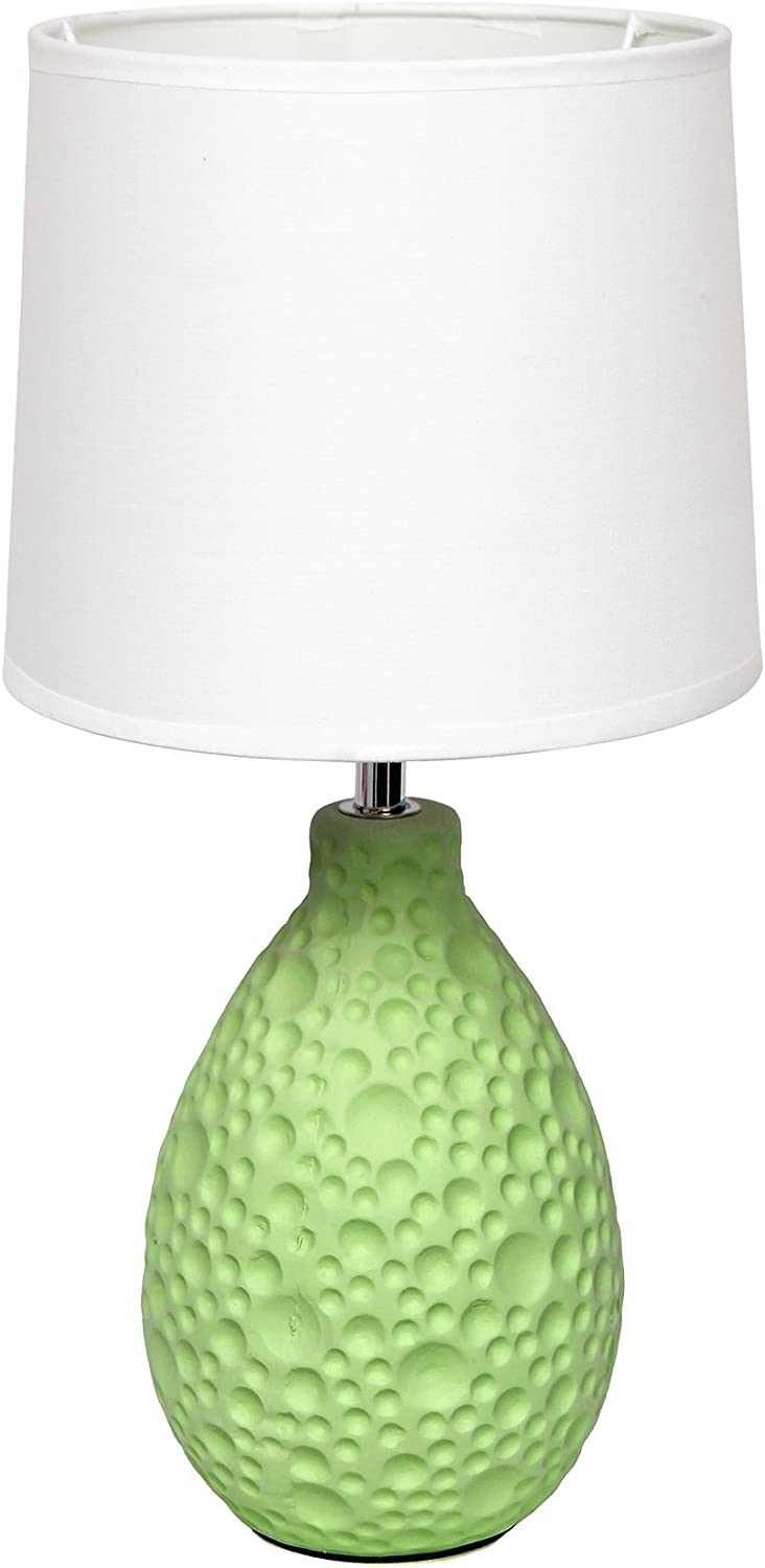 Simple Designs Home LT2003-GRN Textured Stucco Ceramic Oval Table Lamp, Green