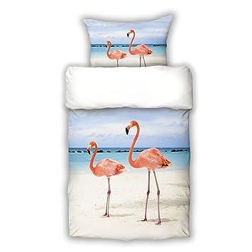 Schwanberg Bettwäsche Flamingo Rosa Vögel Strand Renforcé Größe