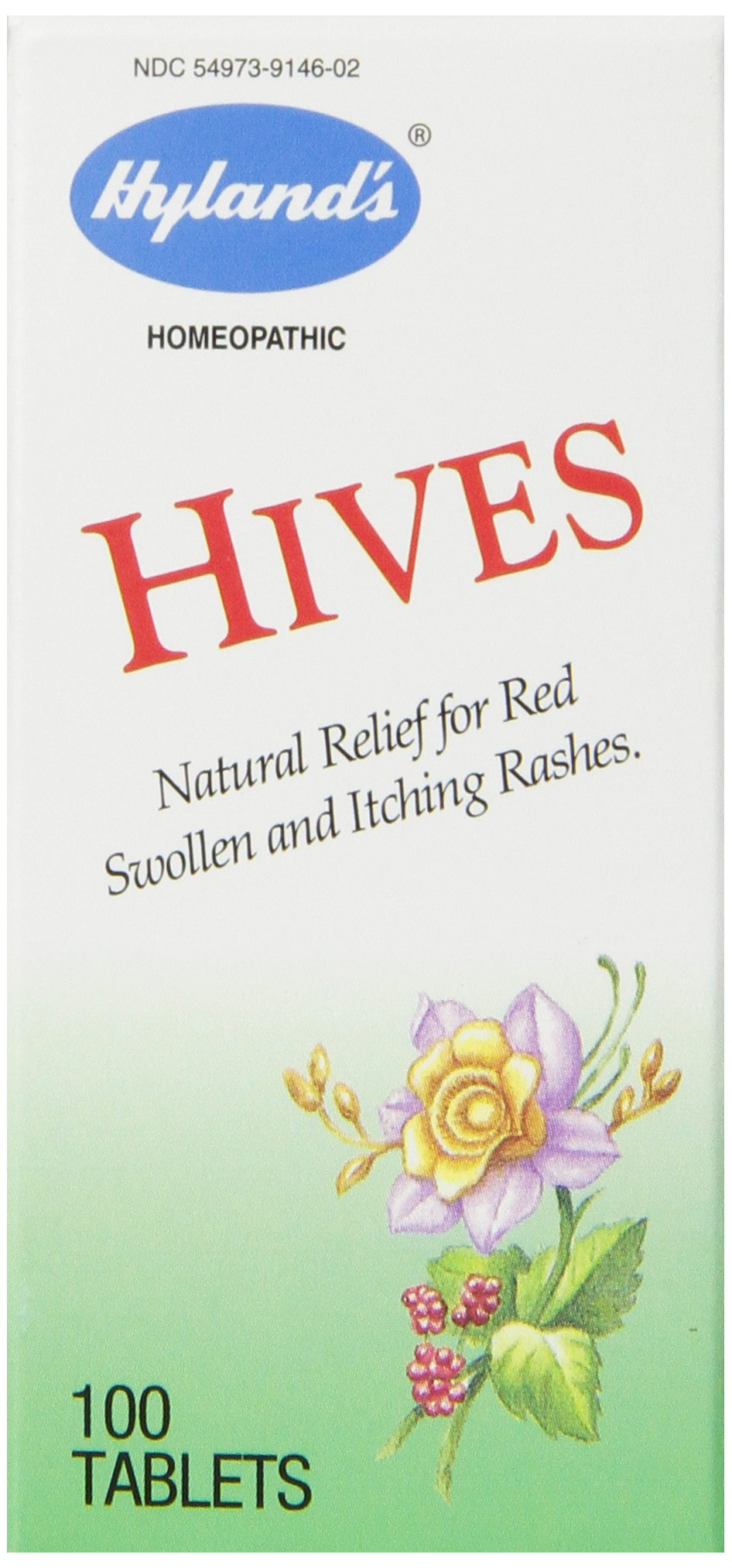 Hyland's Hives Natural Relief for Red Swollen and Itching Rashes 100 Tablets