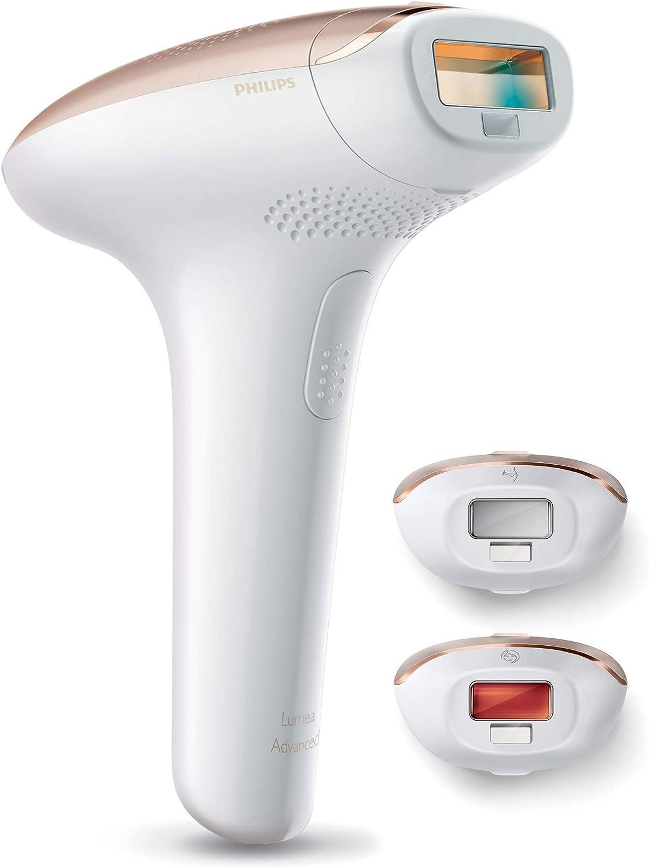 Philips Lumea Advanced SC1999/00 - Depiladora Luz Pulsada para la Depilación Permanente del Vello Visible en Casa con 3 Cabezales: Cuerpo, Cara y Zona Bikini y Axilas, Blanco y Rosa