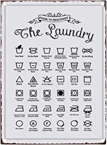 PXIYOU Rustic Guide to Procedure The Laundry Retro Vintage Tin Sign Country Home Decor for Laundry Room, Washroom, Bathroom 8X12Inch