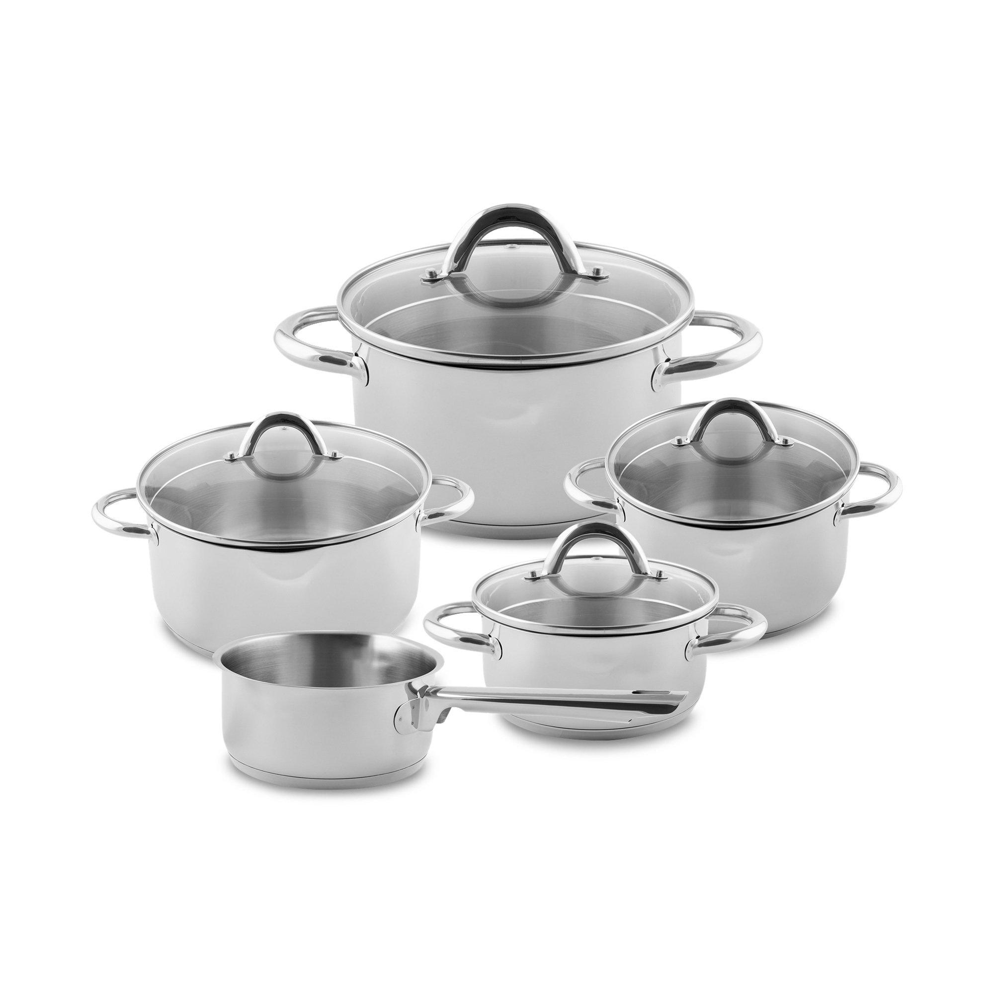 Set de Ollas Sagan, Batería de cocina de cromo y acero inoxidable, incluye tapas