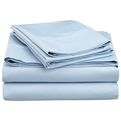 Cotton Sheets, Light Blue Solid 4 Piece Twin Extra Long Bed Sheet Set Real