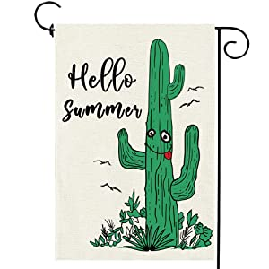 Hello Summer Garden Flag Small Cactus Double Sided Flags Vertical Yard Outdoor Decoration 12×18 Inch