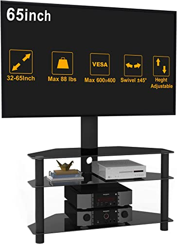 TV Stand 32 to 65 Inches TV Stand 3-Tier Tempered Safety Glass TV Stand