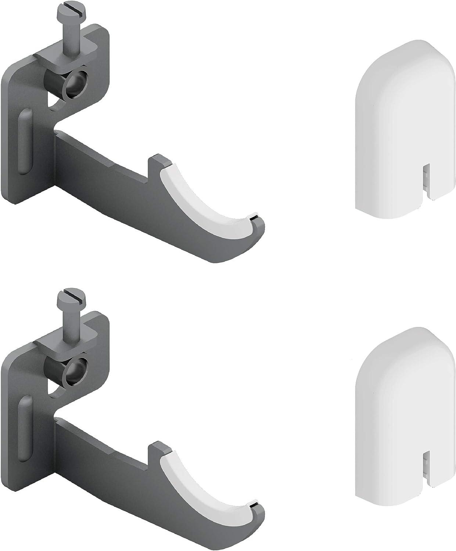 Par de soportes de pared para radiadores de aluminio con ajuste vertical - Cubierta de ABS blanco y aisladores de plástico - Capacidad máxima 50 kg por fijación - 2 piezas.