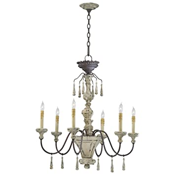 Provence French Country White And Gray Wash 6 Light Chandelier
