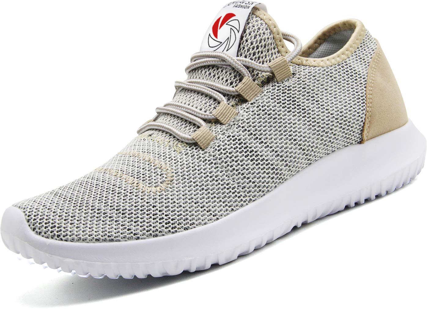 CAMVAVSR Men's Sneakers Fashion Slip on Lightweight Breathable Mesh Soft Sole Walking Running Jogging Shoes for Men Gold, 12 M US