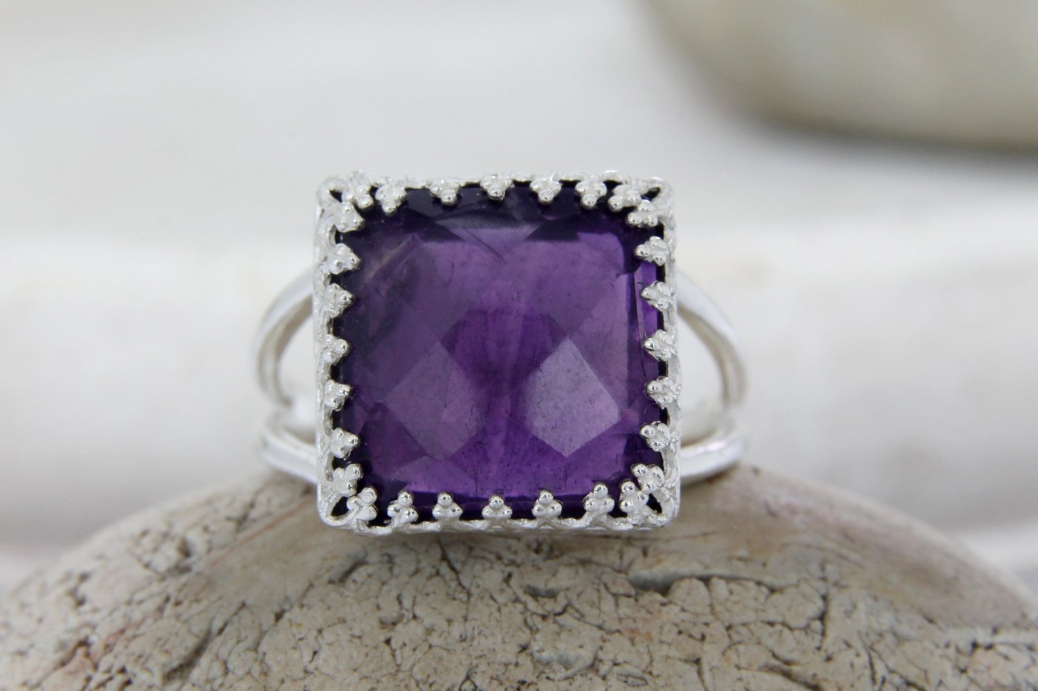 Amethyst ring,Silver gemstone ring,square ring,purple ring,February birthstone ring,double band ring