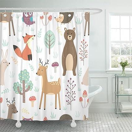 TOMPOP Shower Curtain Forest Cute Animals Fox Deer Bear Rabbit Hedgehog Waterproof Polyester Fabric 72 X