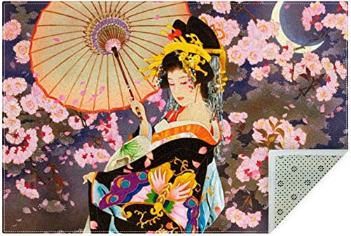 Japanese Geisha Girl Area Rugs Non-Slip Doormats Soft Floor Mats Indoor Carpet for Bedroom Dining Room Living Roo 63by47in