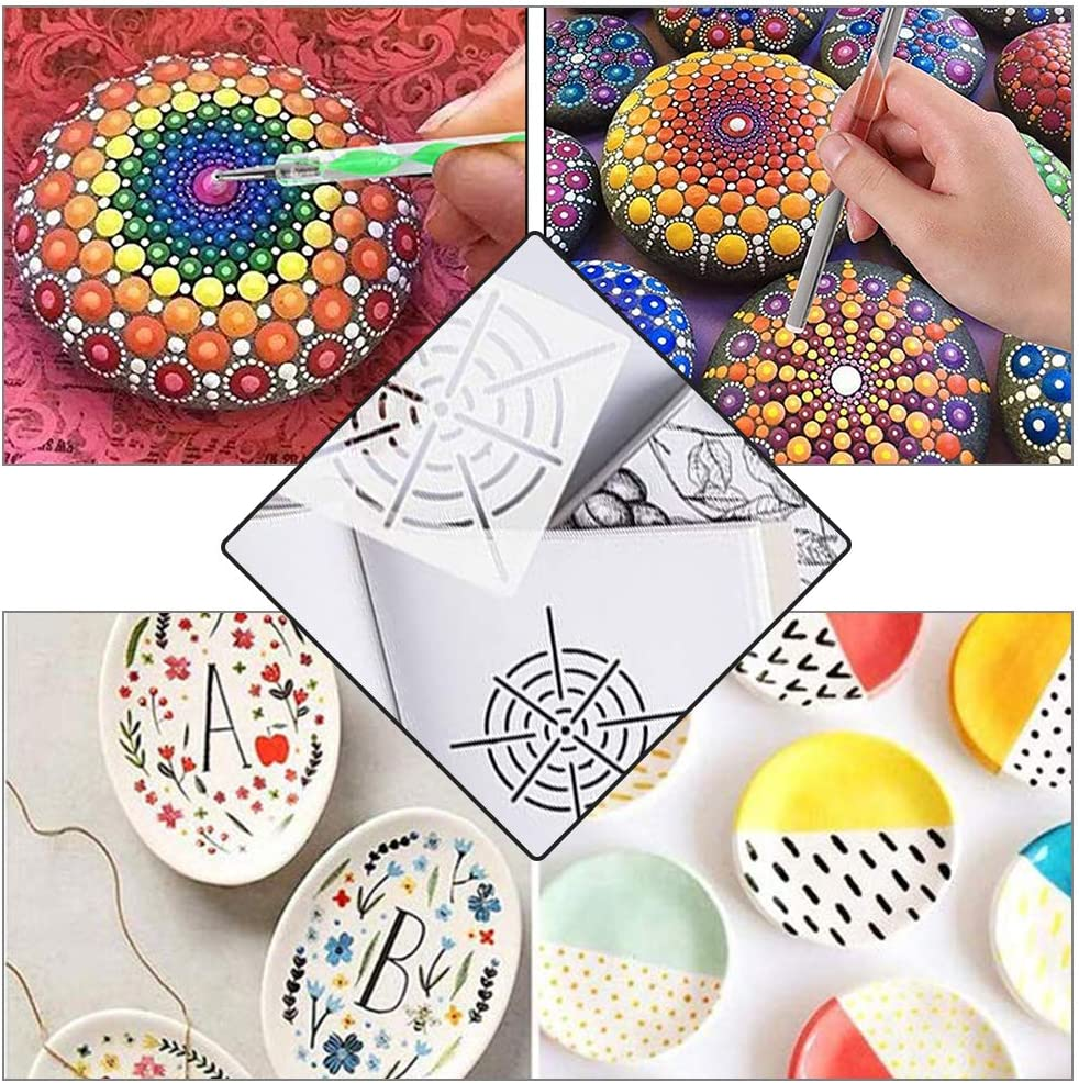 Painting Trays and Brushes for Rock Painting and Other Art Crafts Ball Stylus BENECREAT 37PCS Mandala Dotting Tool Set with Storage Bag Drawing Stencils Templates