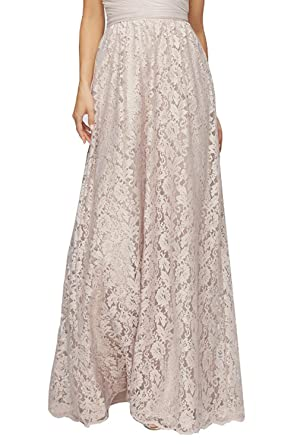 Honey Qiao Women's Maxi High Waist Skirts Champagne Lace Holiday ...