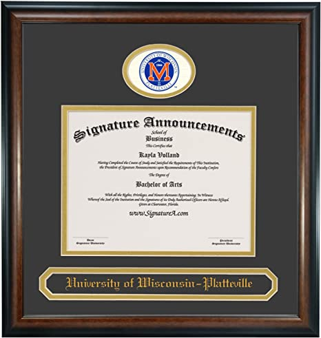 Signature Announcements University-of-Wisconsin-Platteville Undergraduate Sculpted Foil Seal /& Name Graduation Diploma Frame 16 x 16 Matte Mahogany